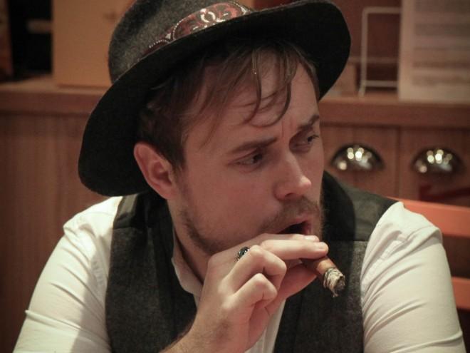 Jamie maketh the man enjoying cigar