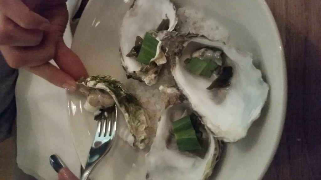 Jersey Rock Oysters, Horseradish Ice Cream and Sea Aster