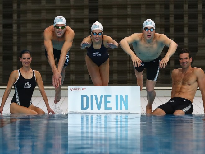 """LONDON, ENGLAND - APRIL 19:  Kirsty Gallacher, Michael Jamieson, Siobhan O'Conner, James Guy and Gethin Jones pose for the camera's during the Speedo """"Dive In"""" launch at Aquatics Centre on April 19, 2016 in London, England. Speedo with the help of an elite team of coaches will be offering adults across the UK 10,000 free swim fit sessions. www.speedo.co.uk/dive-in  (Photo by Clive Rose/Getty Images) *** Local Caption *** Kirsty Gallacher; Michael Jamieson; Siobhan O'Conner; James Guy; Gethin Jones"""