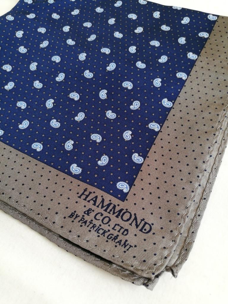 Hammond & Co. by Patrick Grant Blue paisley pocket square