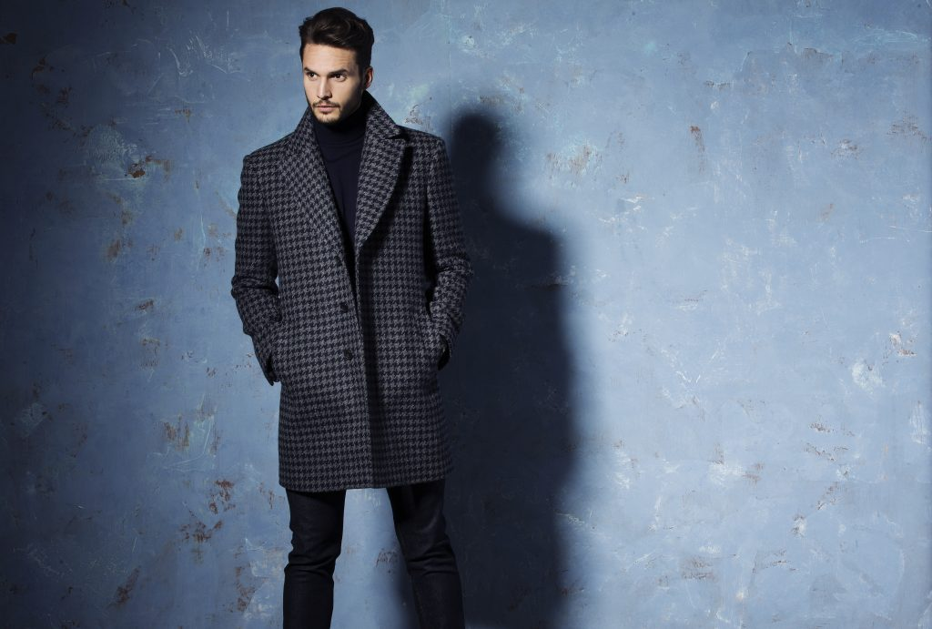Grey & Navy Bold Dogtooh Coat