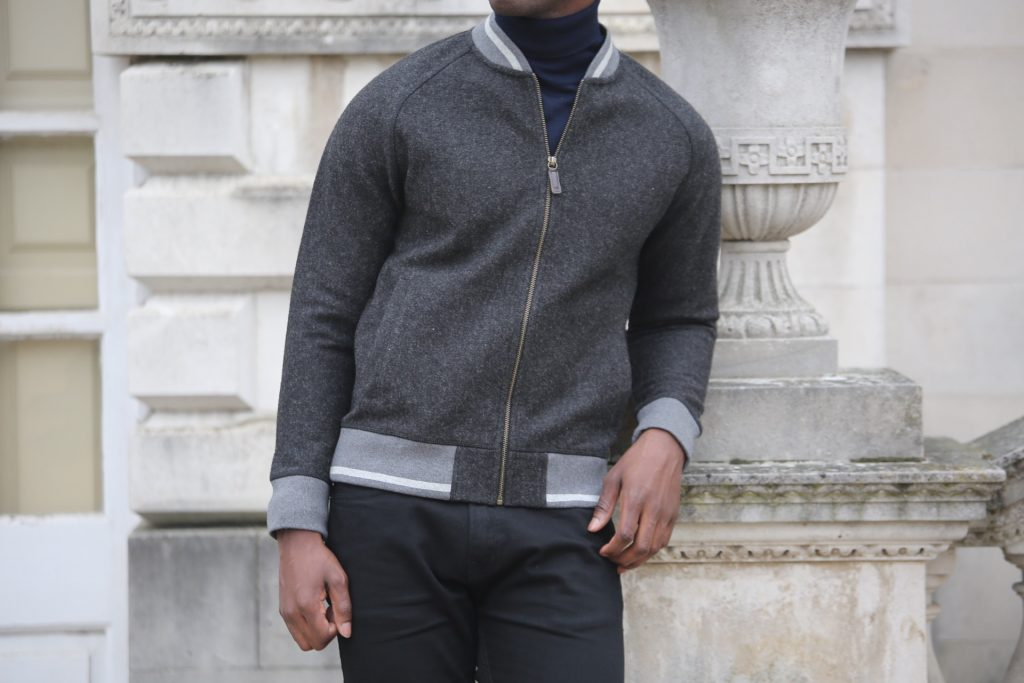 Dark grey tipped bomber jacket: Hammond & Co by Patrick Grant