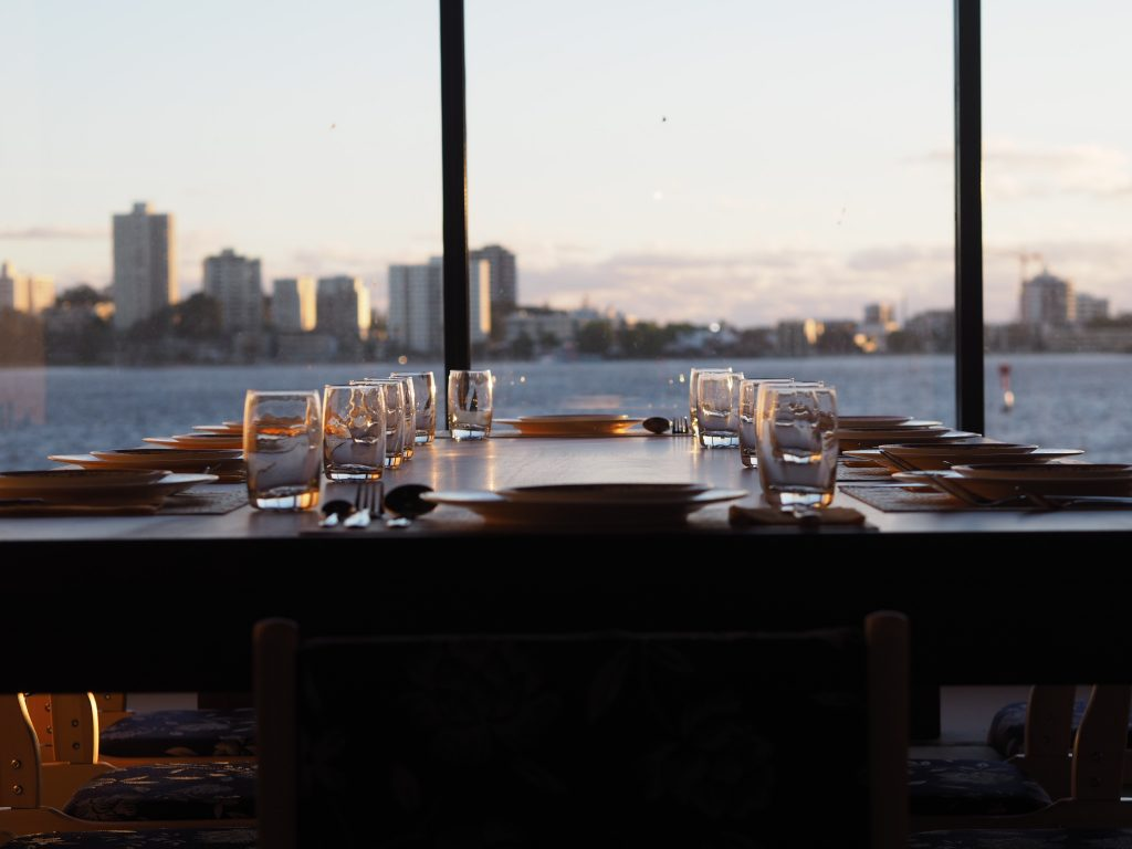Sunsets in the private dining room of LAPUTA